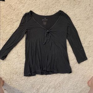 AEO soft & sexy gray flowing long sleeve shirt